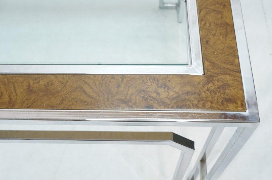 Milo Baughman style Burl Wood Chrome Dining Table - 7