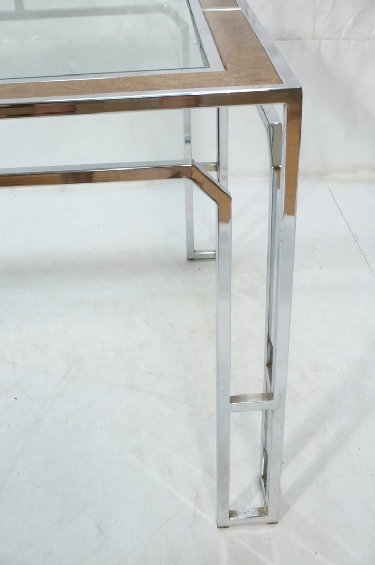 Milo Baughman style Burl Wood Chrome Dining Table - 8