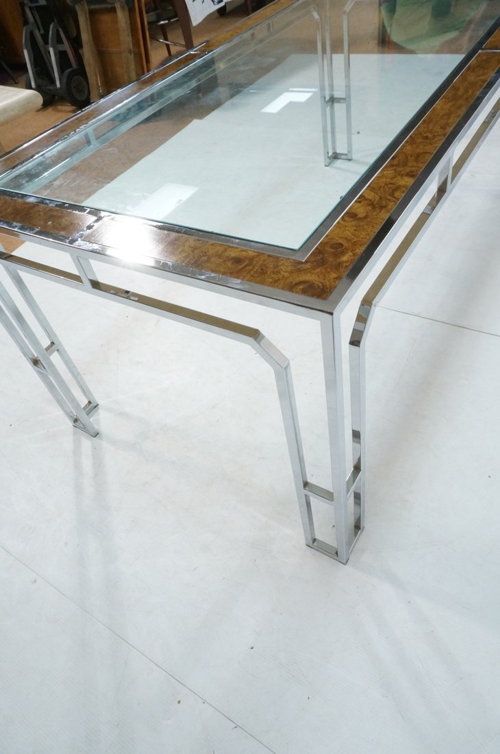 Milo Baughman style Burl Wood Chrome Dining Table - 9