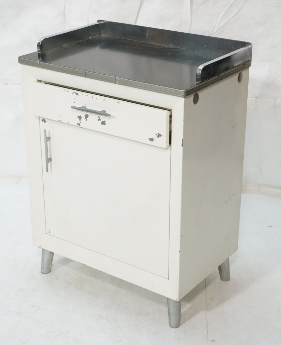 White Metal Industrial Cabinet. Black laminate to