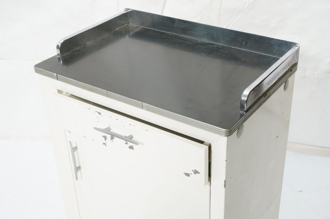 White Metal Industrial Cabinet. Black laminate to - 2