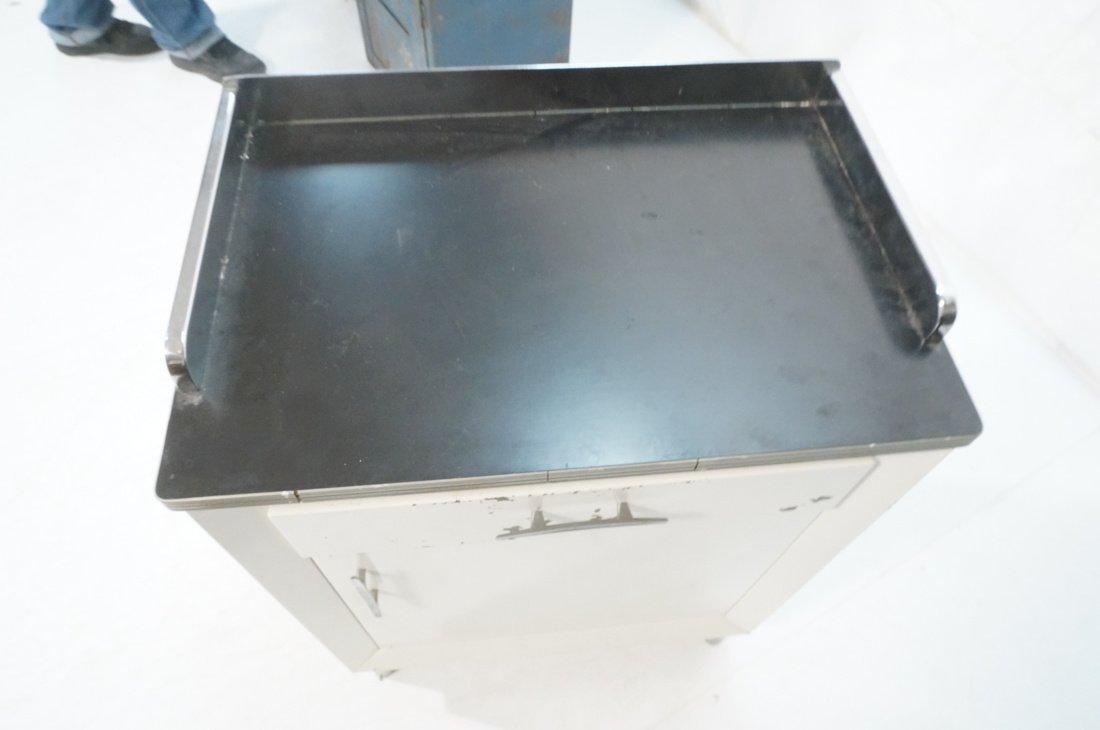 White Metal Industrial Cabinet. Black laminate to - 5