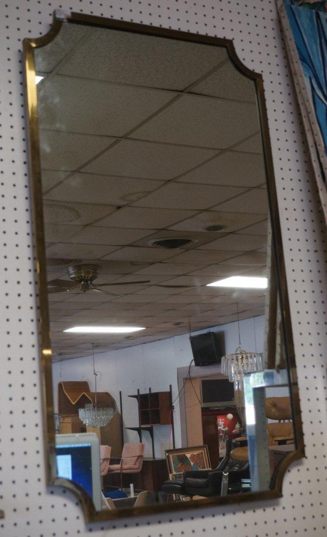 Brass Trimmed Wall Mirror. Modernist. Rectangle w