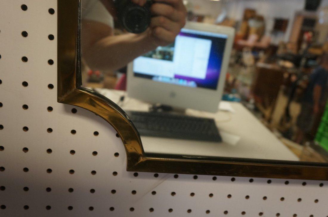 Brass Trimmed Wall Mirror. Modernist. Rectangle w - 2