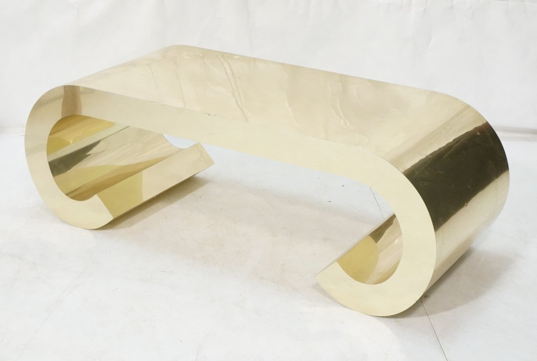 Gold tone Scroll Low Coffee Table. Decorator.