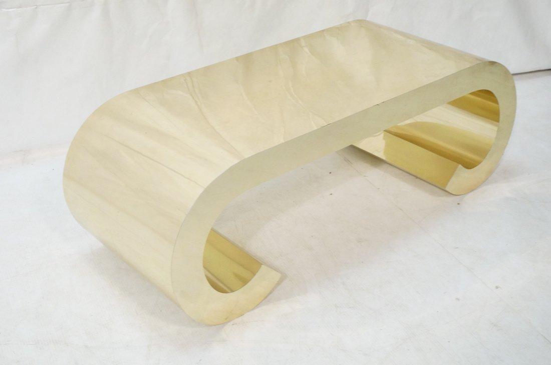 Gold tone Scroll Low Coffee Table. Decorator. - 2
