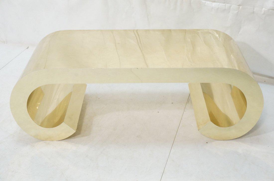 Gold tone Scroll Low Coffee Table. Decorator. - 3