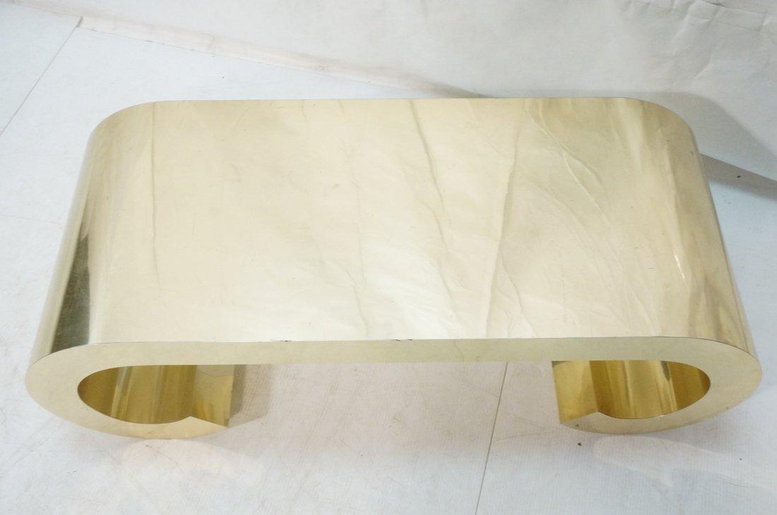 Gold tone Scroll Low Coffee Table. Decorator. - 5