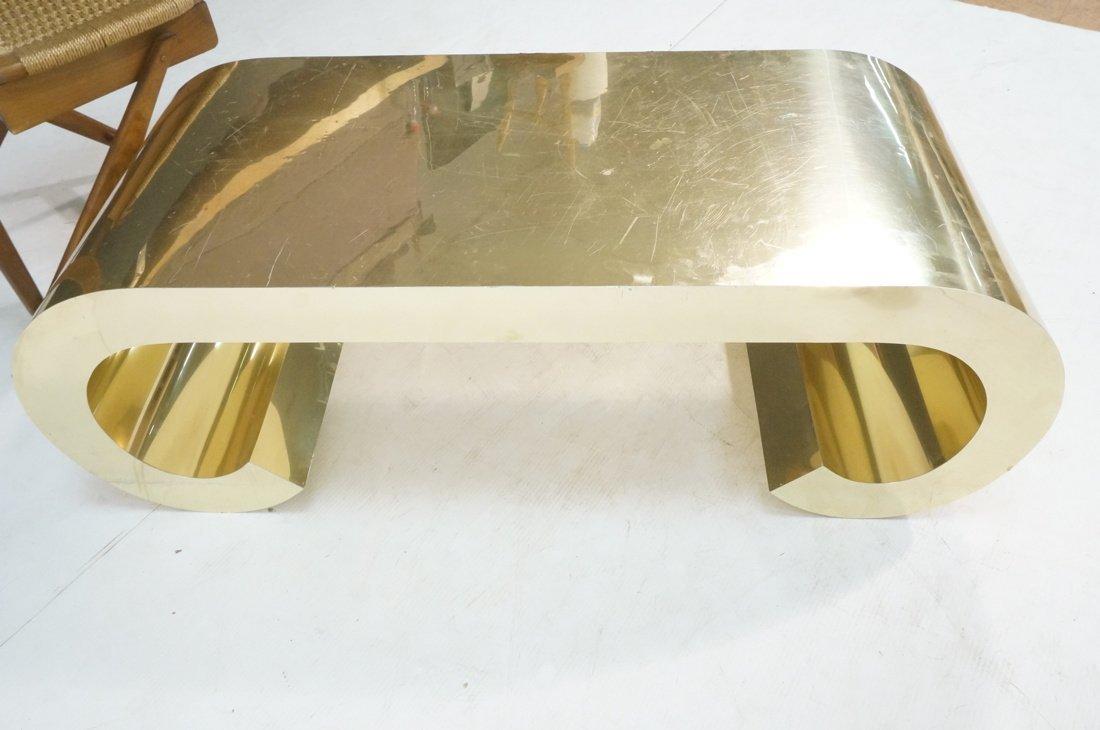 Gold tone Scroll Low Coffee Table. Decorator. - 8