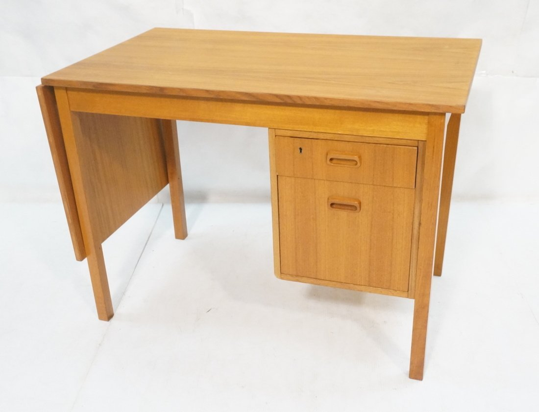 Drop Side Danish Modern Teak Desk. Drop is 19.5""