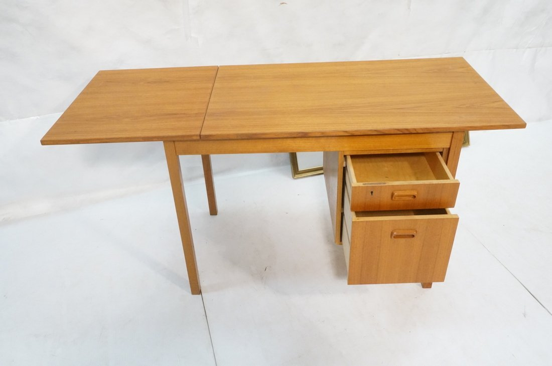 "Drop Side Danish Modern Teak Desk. Drop is 19.5"" - 4"