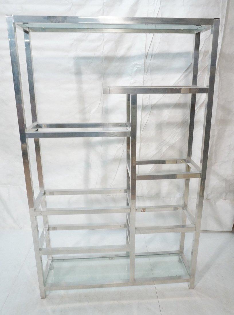 Aluminum Modernist Etagere. Staggered shelves.