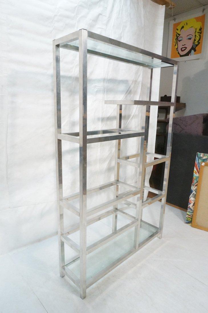 Aluminum Modernist Etagere. Staggered shelves. - 2