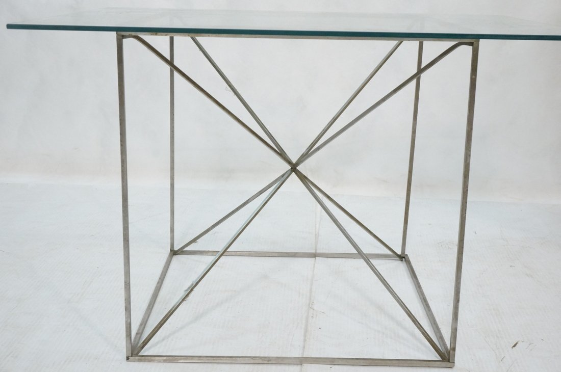 Glass Top Modernist Table. Thin silver metal cors - 2