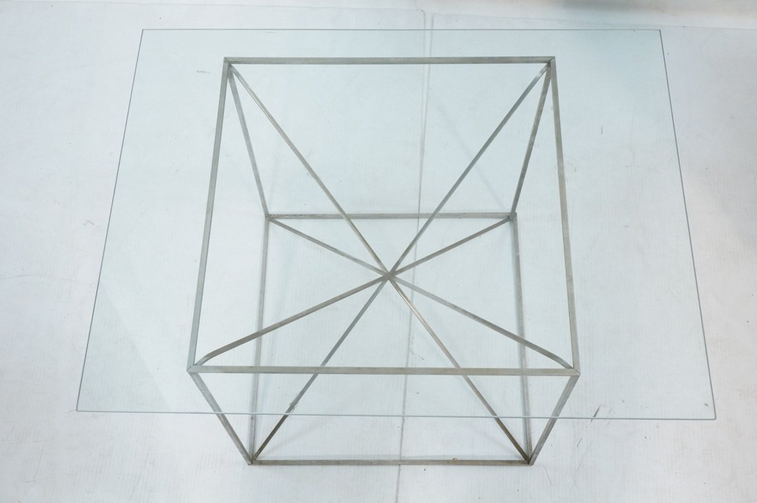 Glass Top Modernist Table. Thin silver metal cors - 3