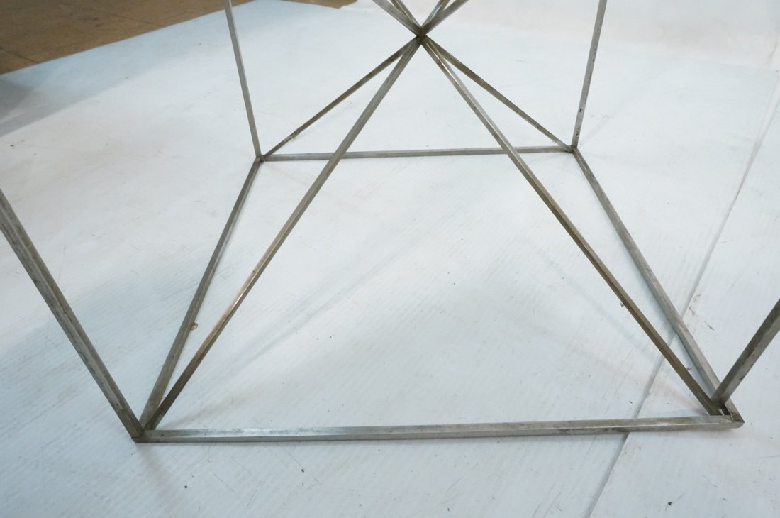 Glass Top Modernist Table. Thin silver metal cors - 6