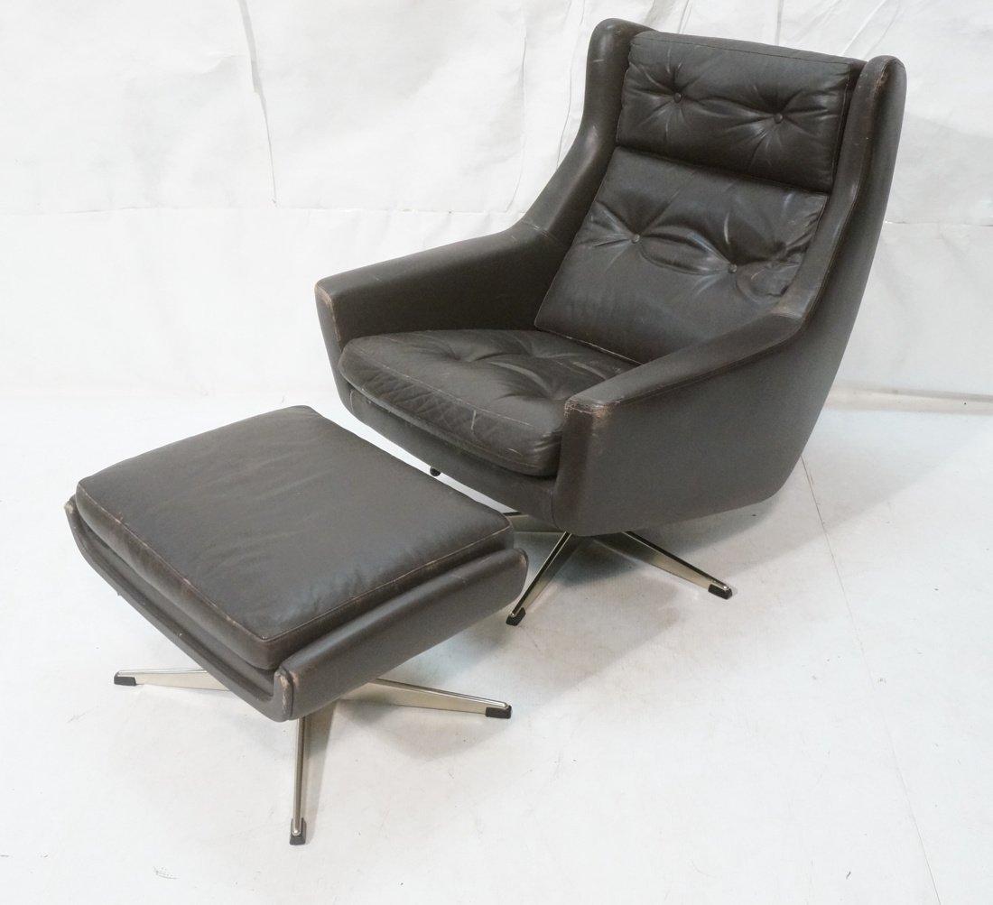 JOHN STUART Brown Leather Lounge Chair & Ottoman.