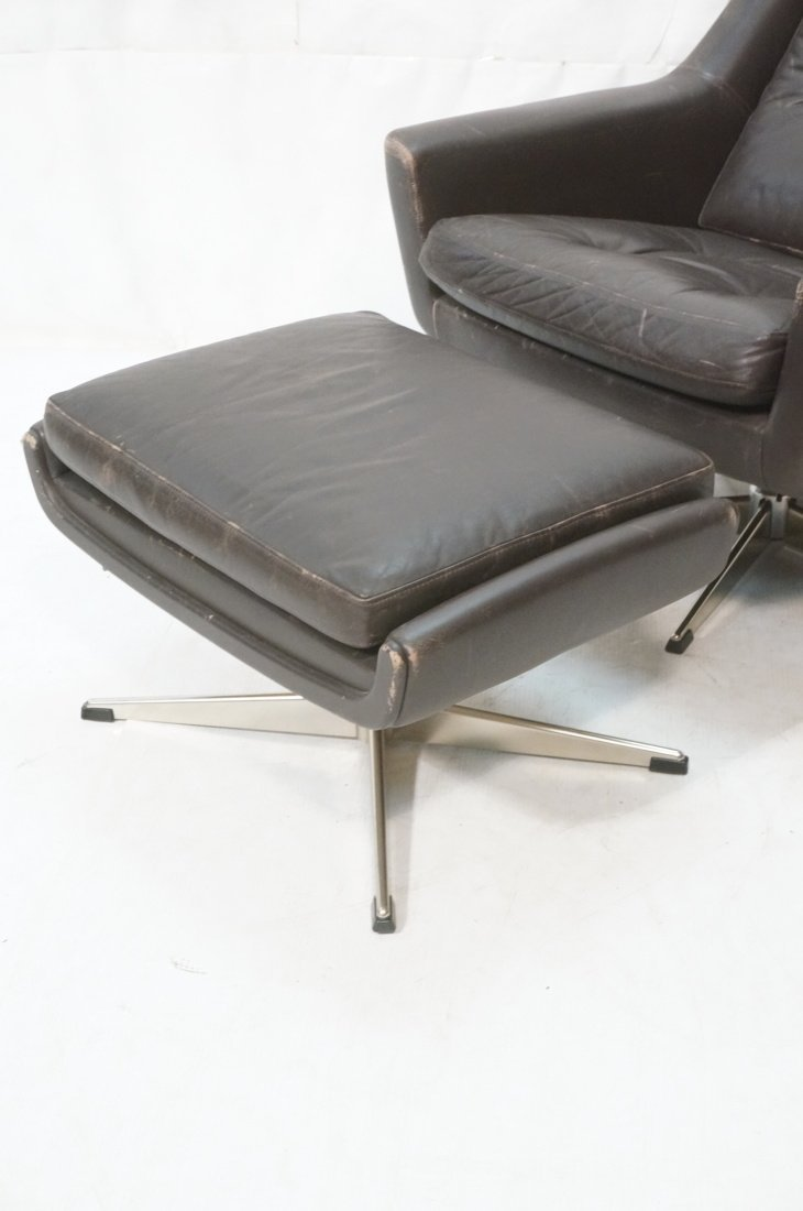 JOHN STUART Brown Leather Lounge Chair & Ottoman. - 2