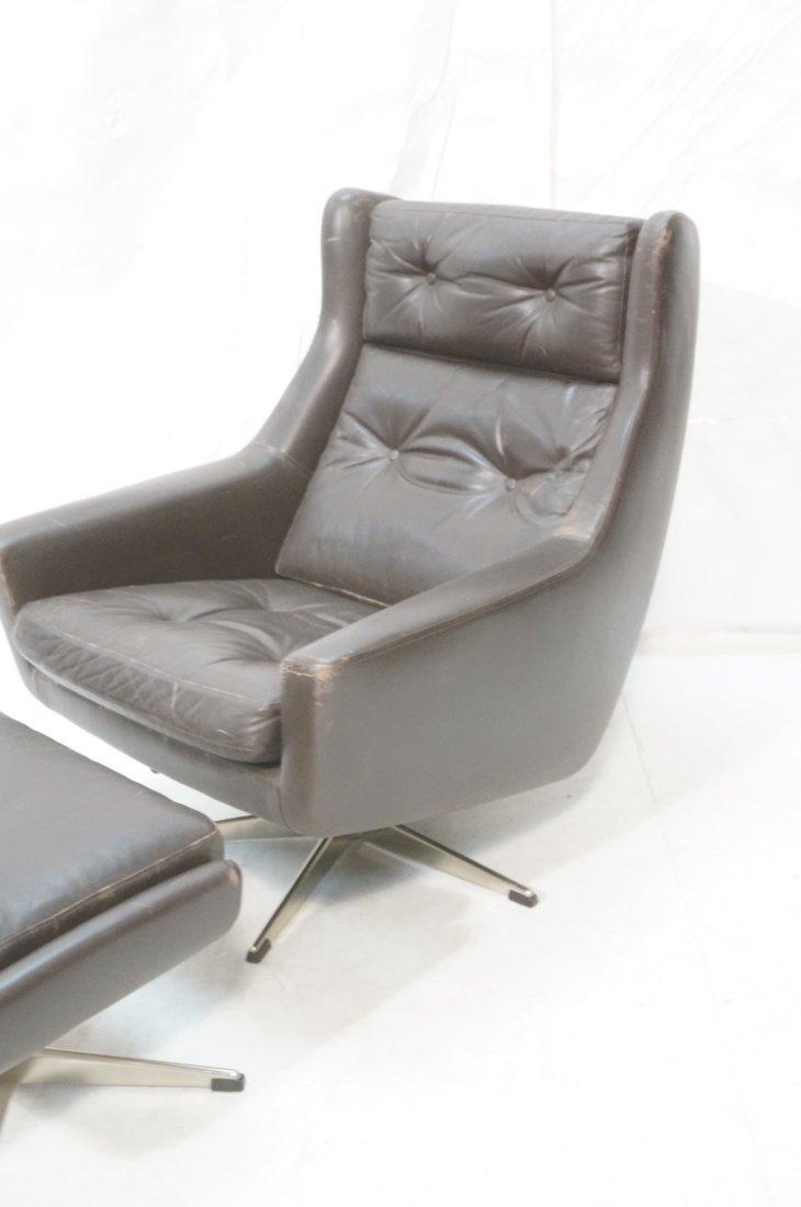JOHN STUART Brown Leather Lounge Chair & Ottoman. - 3