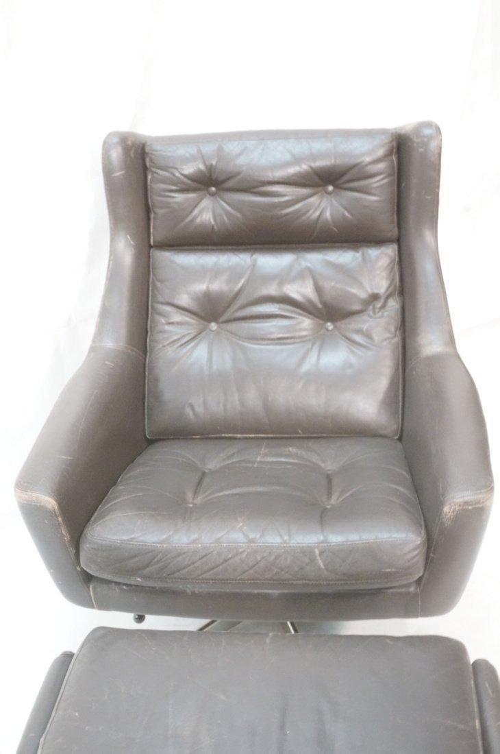 JOHN STUART Brown Leather Lounge Chair & Ottoman. - 5