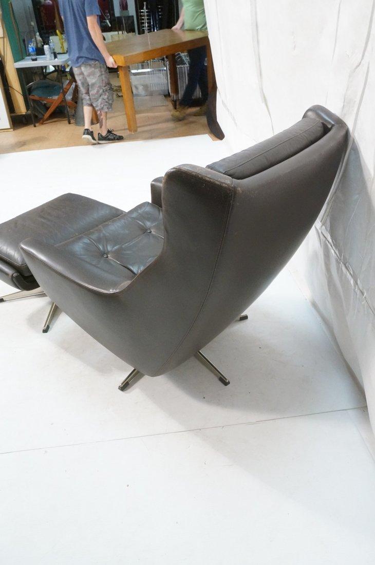 JOHN STUART Brown Leather Lounge Chair & Ottoman. - 6