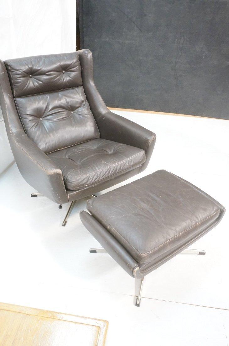 JOHN STUART Brown Leather Lounge Chair & Ottoman. - 7