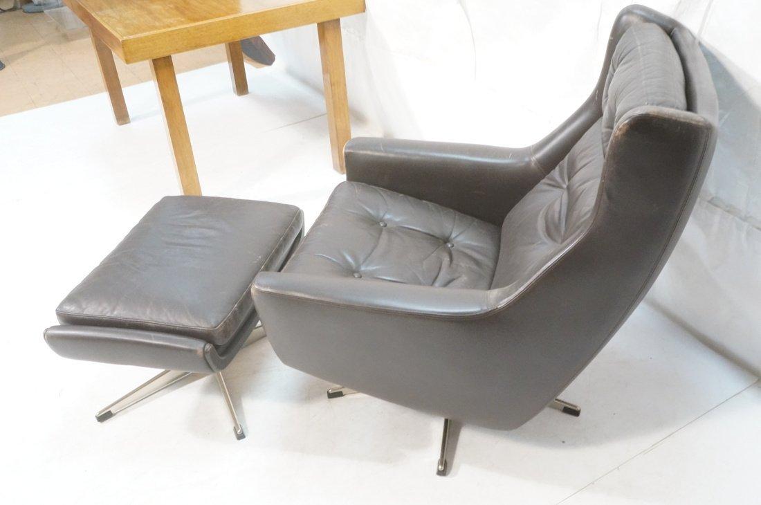 JOHN STUART Brown Leather Lounge Chair & Ottoman. - 8
