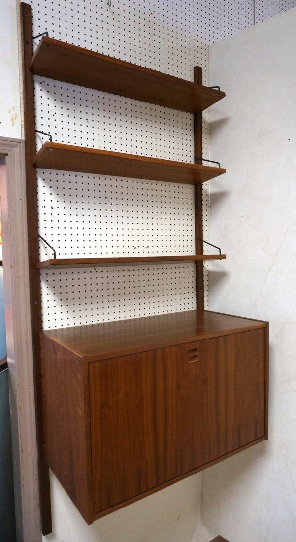 Modern Walnut Wall Shelf Bookcase Unit. One drop
