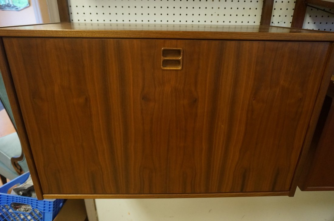 Modern Walnut Wall Shelf Bookcase Unit. One drop - 7