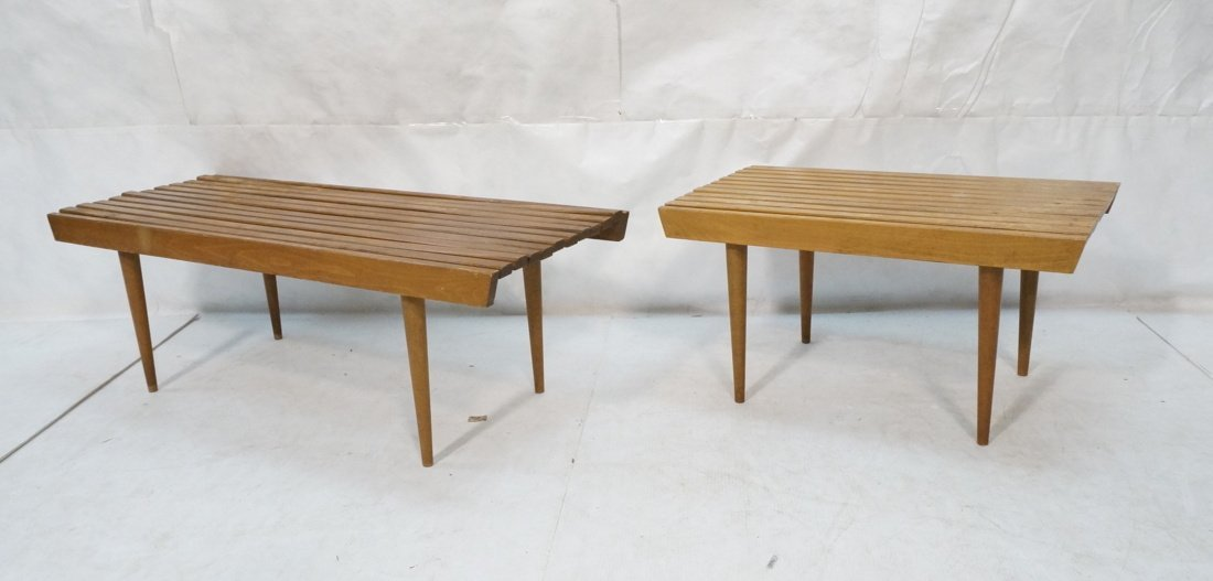 2pc Slat Bench Coffee Tables. Tapered peg legs.