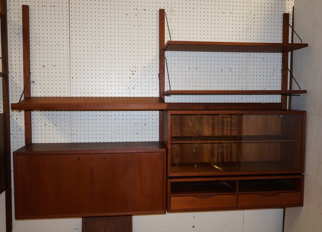 Teak Modern Wall Shelf Unit. Three uprights suppo