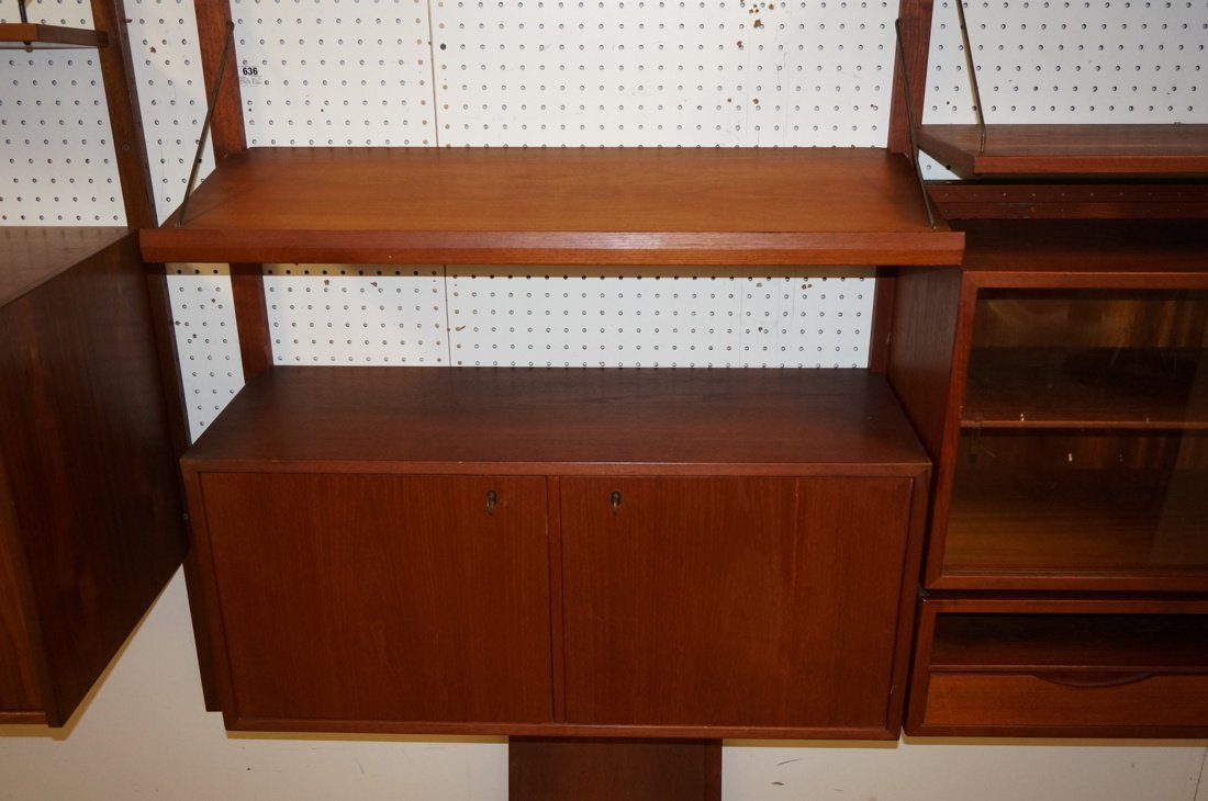 Teak Modern Wall Shelf Unit. Three uprights suppo - 2