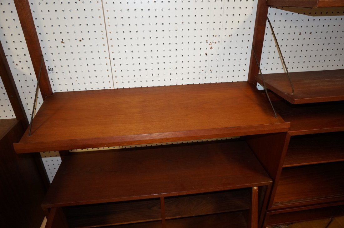 Teak Modern Wall Shelf Unit. Three uprights suppo - 5