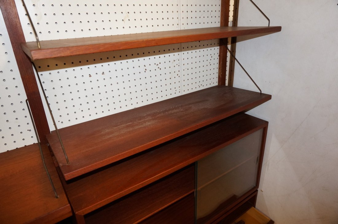 Teak Modern Wall Shelf Unit. Three uprights suppo - 6