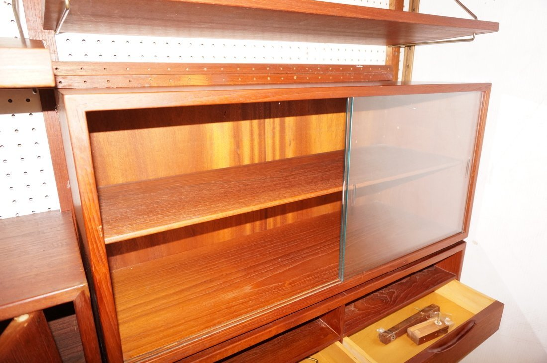 Teak Modern Wall Shelf Unit. Three uprights suppo - 7