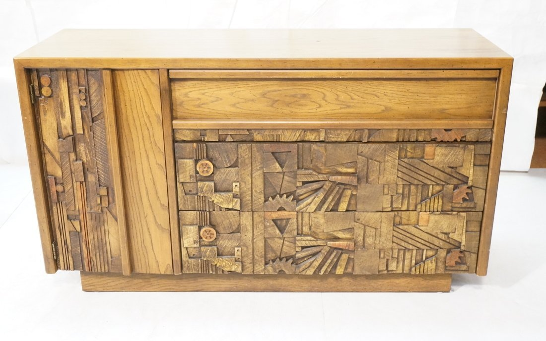 LANE Sculptural wood relief panel front sideboard