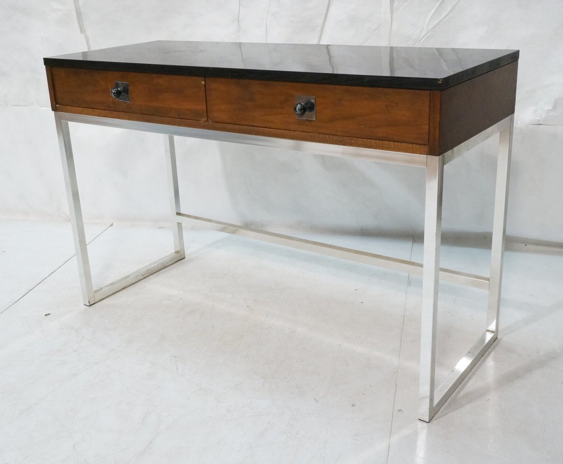 Milo Baughman style Chrome tube frame Desk. Black
