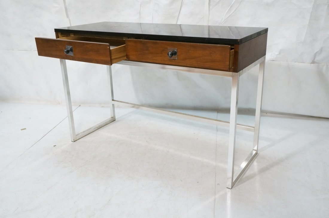 Milo Baughman style Chrome tube frame Desk. Black - 2