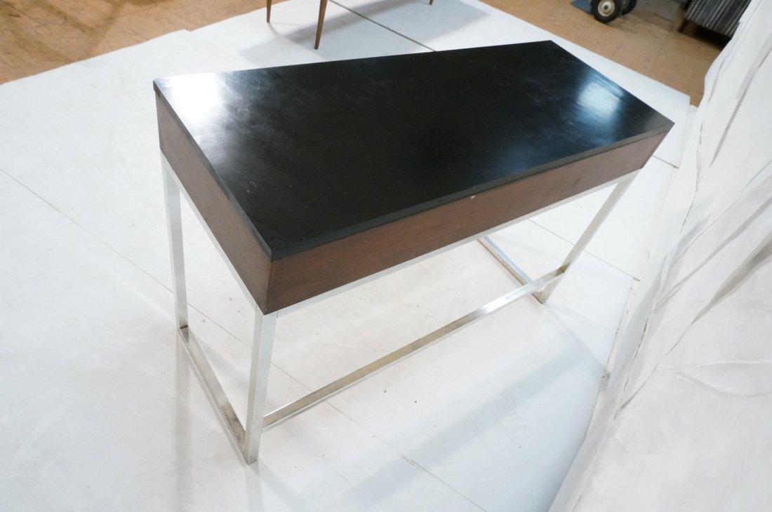 Milo Baughman style Chrome tube frame Desk. Black - 8