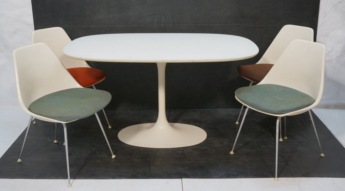 5pc BURKE Dining Set. Oval White Laminate Table.