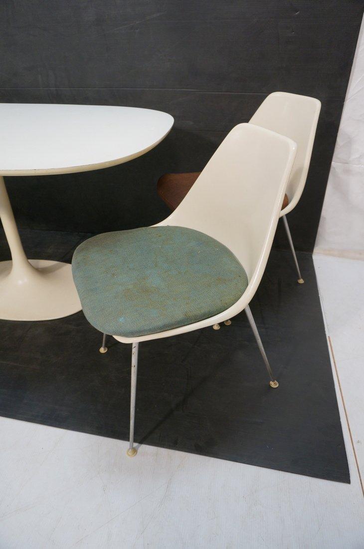5pc BURKE Dining Set. Oval White Laminate Table. - 5