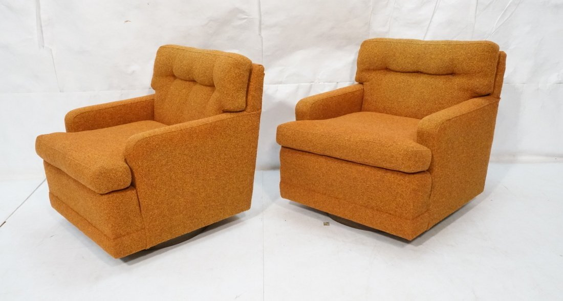 Pr Burnt Orange Swivel Lounge Chairs. Tufted back