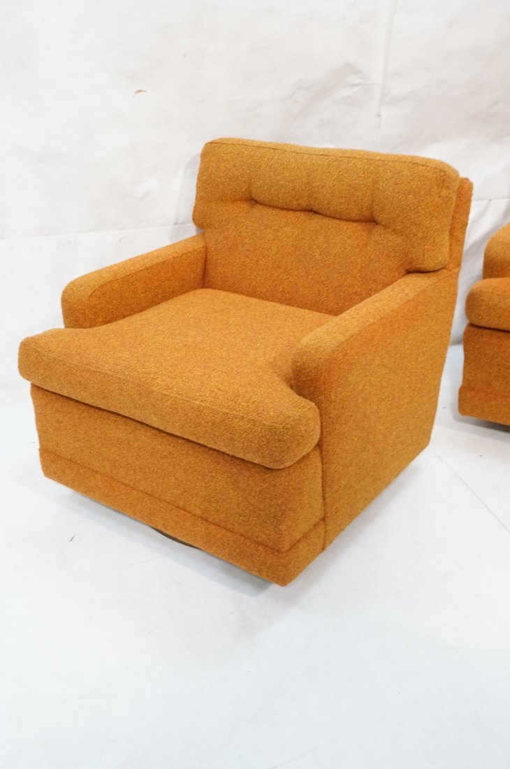 Pr Burnt Orange Swivel Lounge Chairs. Tufted back - 2