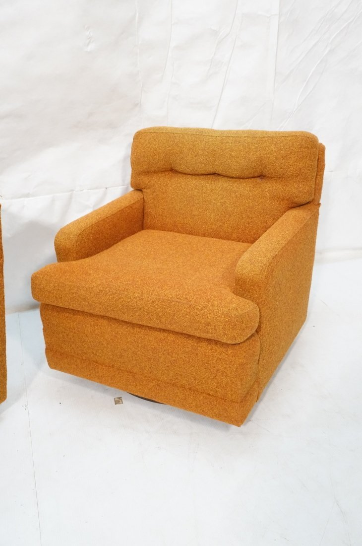 Pr Burnt Orange Swivel Lounge Chairs. Tufted back - 3