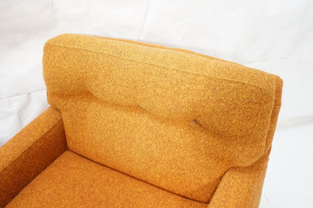 Pr Burnt Orange Swivel Lounge Chairs. Tufted back - 4