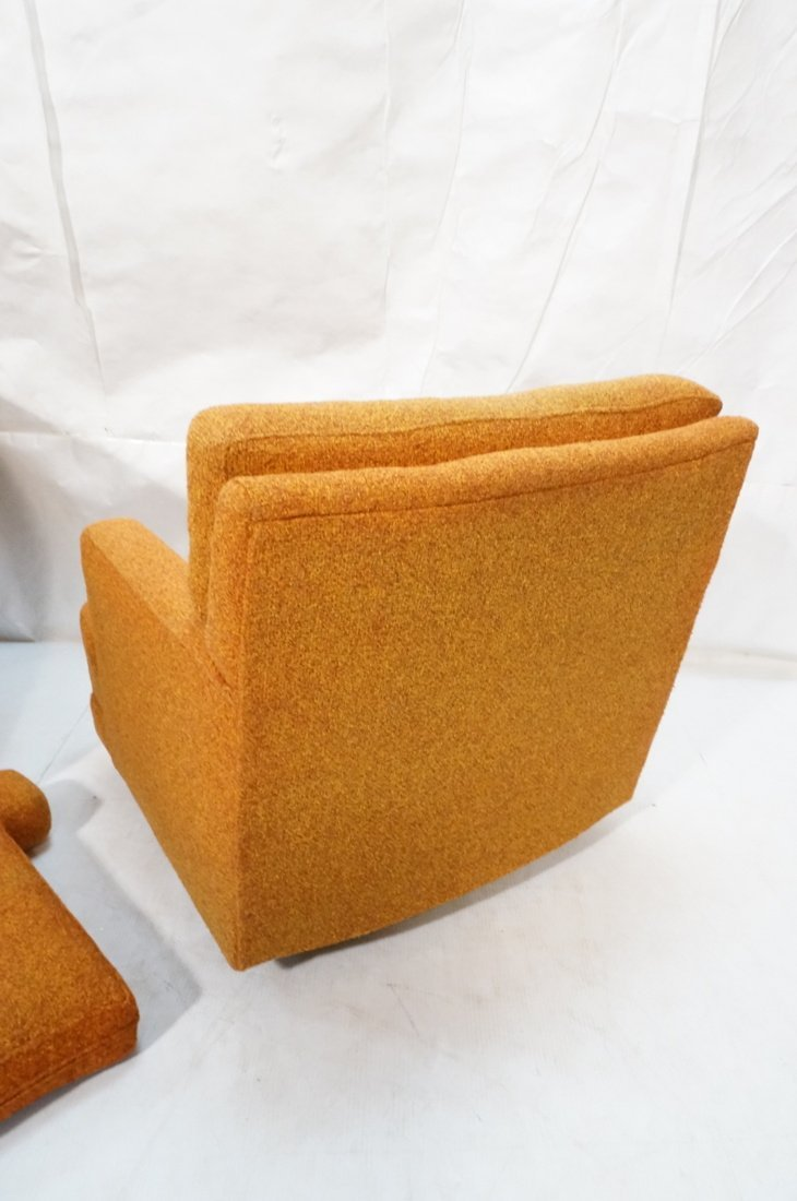 Pr Burnt Orange Swivel Lounge Chairs. Tufted back - 6