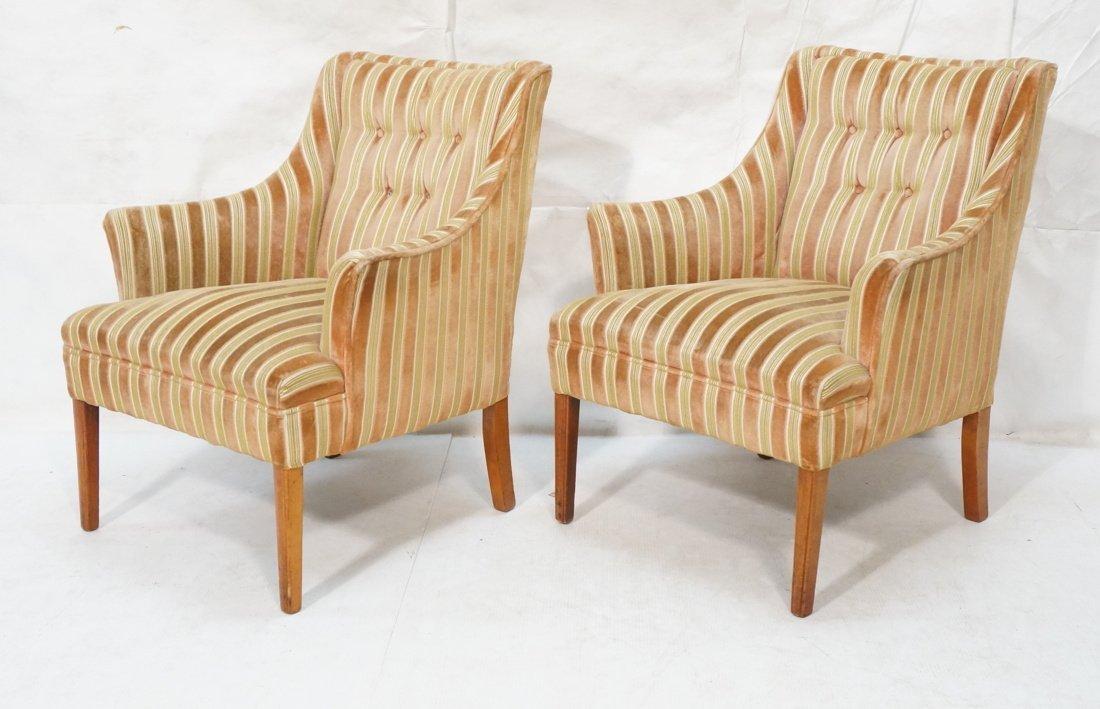 Pr Decorator Fire Side Chairs. Plush peach & gree