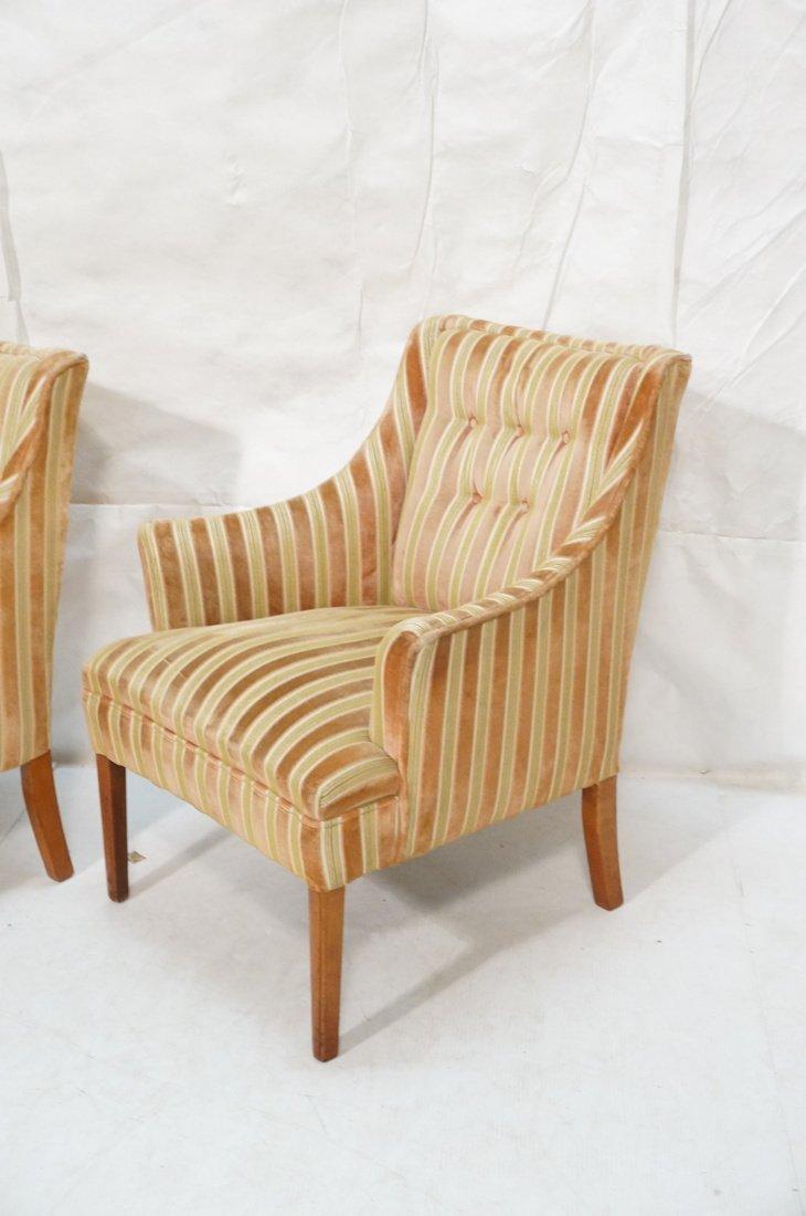 Pr Decorator Fire Side Chairs. Plush peach & gree - 2