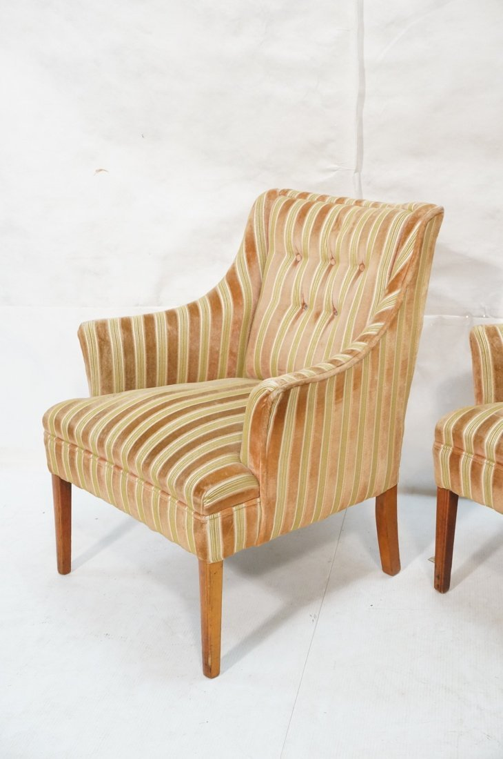 Pr Decorator Fire Side Chairs. Plush peach & gree - 3