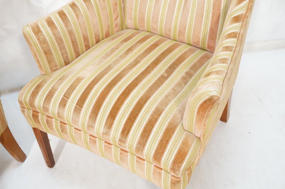 Pr Decorator Fire Side Chairs. Plush peach & gree - 5